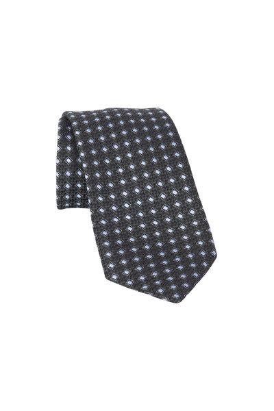 Ermenegildo Zegna - Hunter Green Geometric Silk Necktie