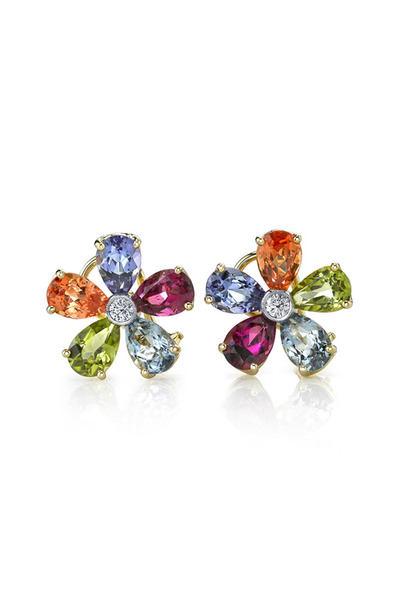 Sylva & Cie - Gold Diamond & Ruby Earrings