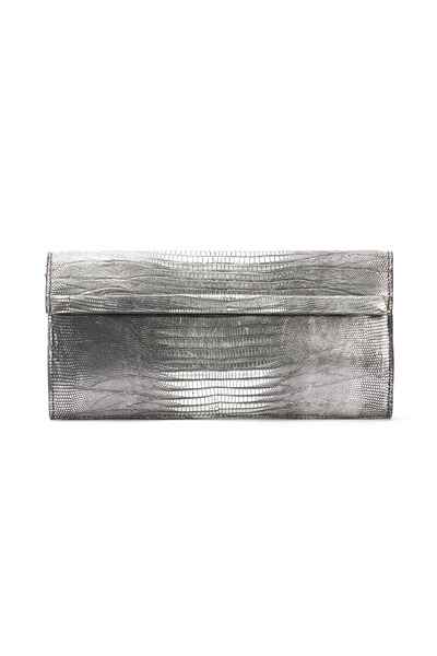 Daniella Ortiz - Silver Lizardskin East West Clutch, Large