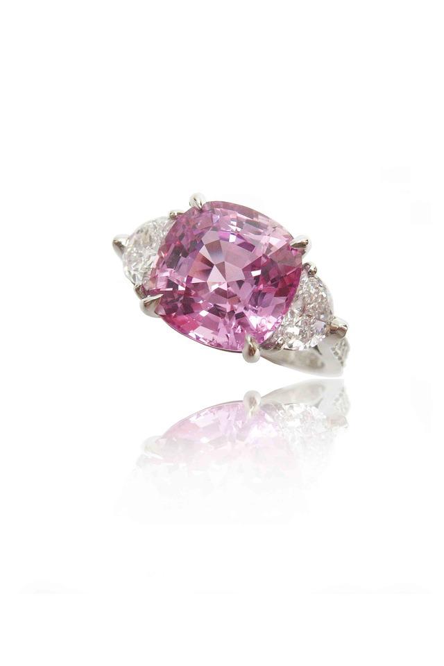 Platinum Pink Sapphire Cocktail Ring