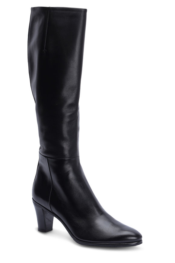 Gravati Black Leather Tall Dress Boot, 70mm