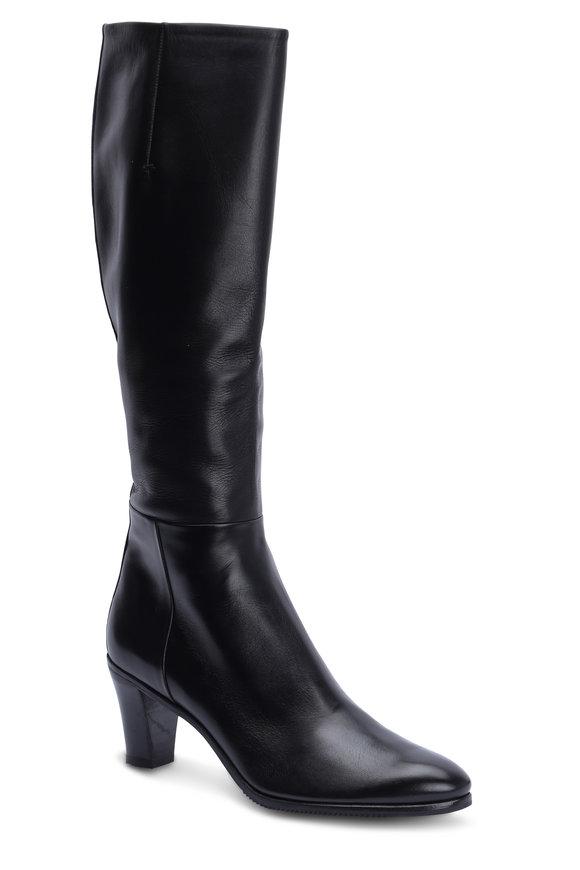 Gravati Black Leather Tall Dress Boot, 70mm