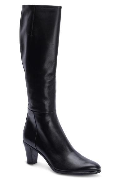 Gravati - Black Leather Tall Dress Boot, 70mm
