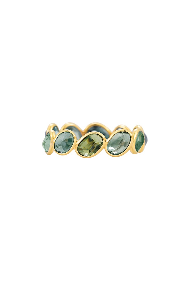 Yellow Gold Green Sapphire Stack Ring