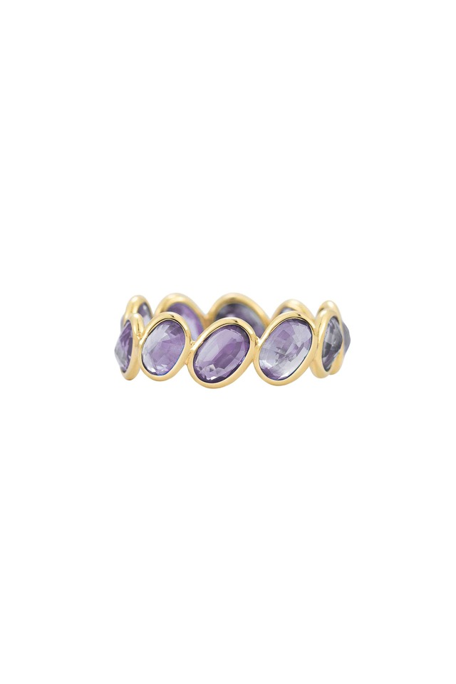 Yellow Gold Purple Sapphire Stackable Ring