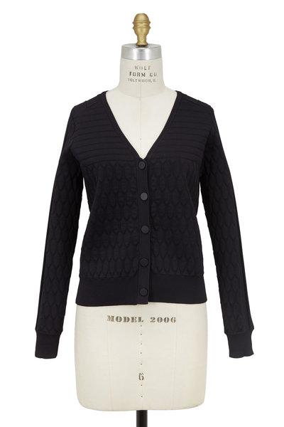 Jonathan Simkhai - Black Diamond Quilted & Wide Ribbed Knit Cardigan
