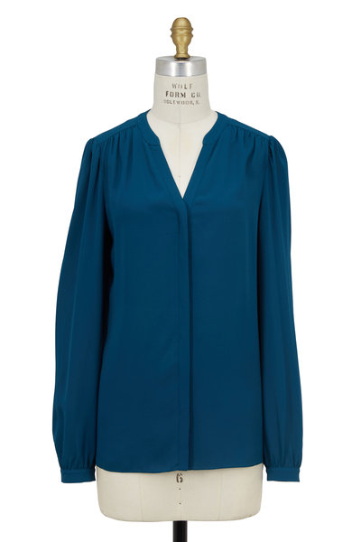 Michael Kors Collection - Peacock Blue Silk Georgette Split Neck Blouse