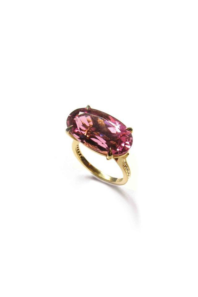 Gold Yellow Diamond & Pink Tourmaline Ring