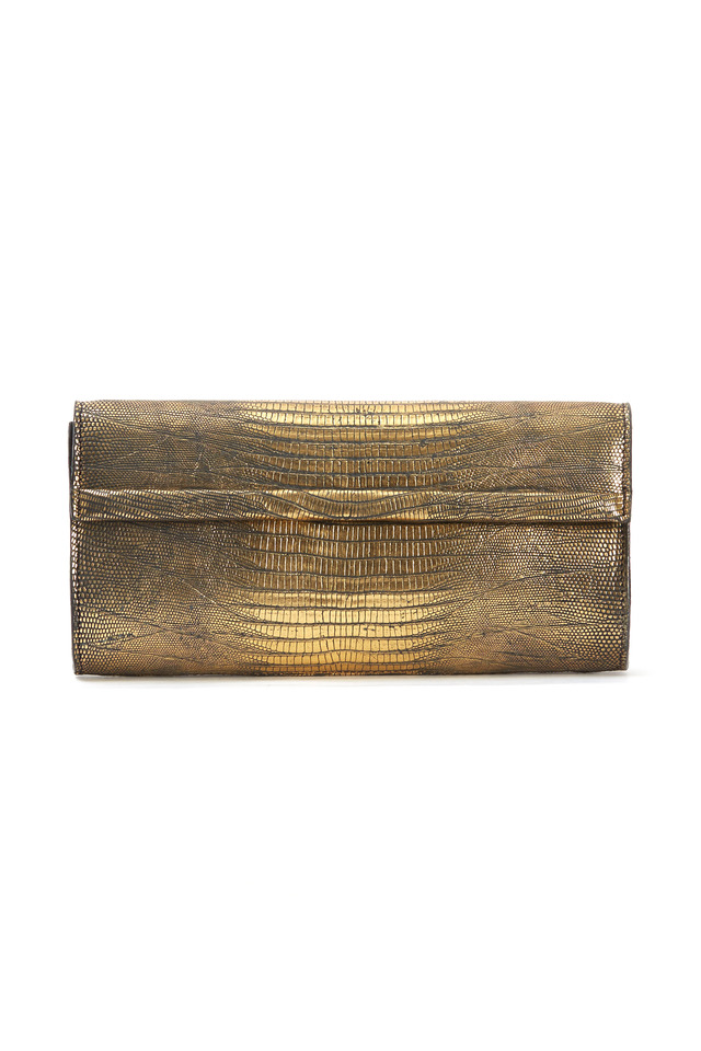 Barbara Bronze Lizard Large East West Clutch