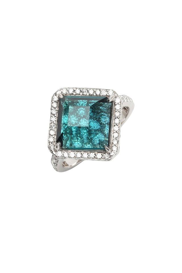 18K White Gold Indicolite Kite Diamond Ring