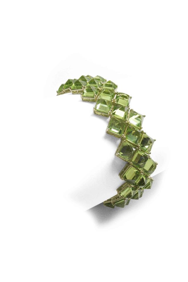 Yellow Gold Peridot 3 Line Bracelet