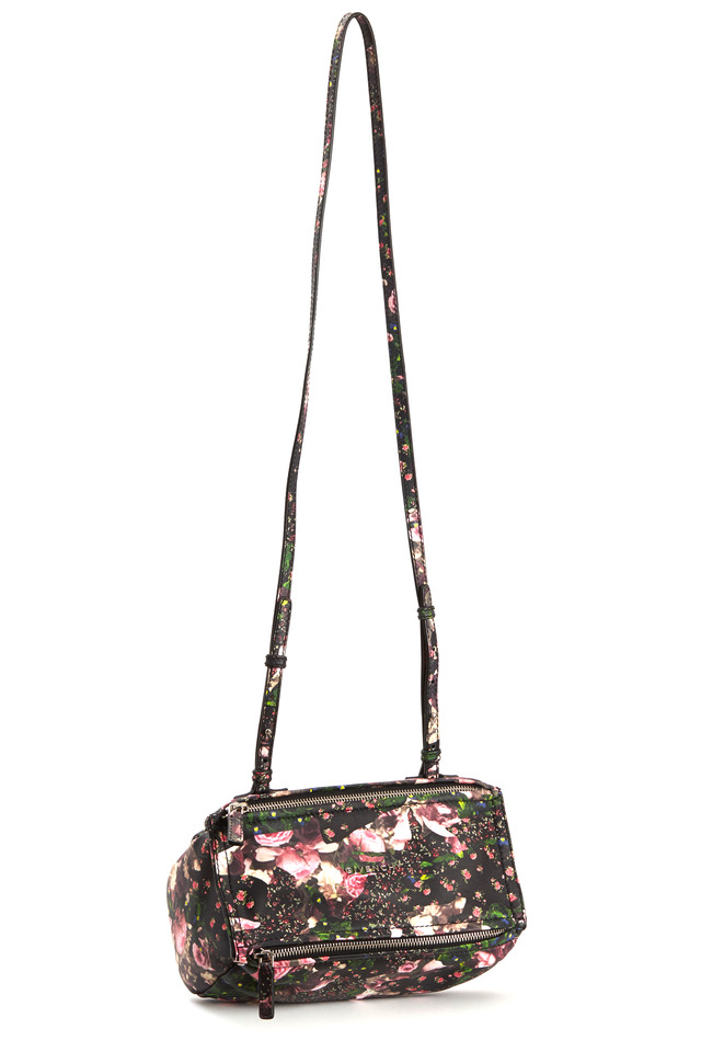 Pandora Black Floral Leather Mini Messenger Bag