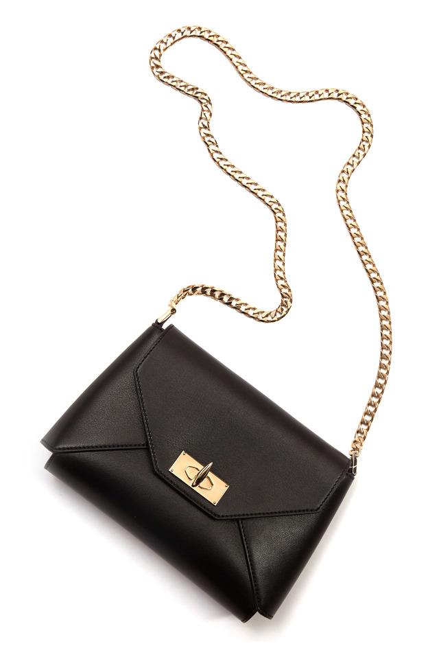 Shark Black Leather Chain Shoulder Bag
