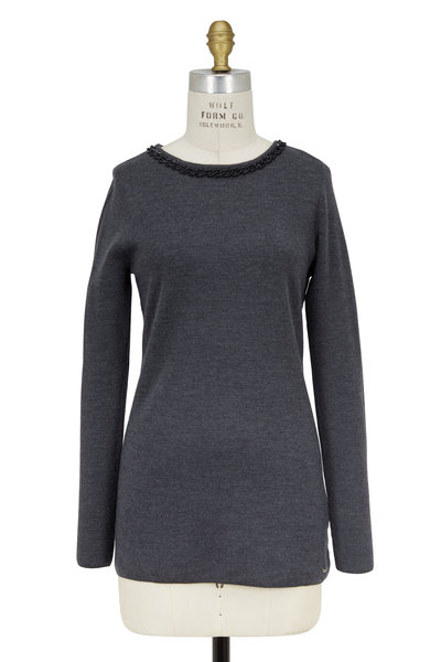 Escada - Sorrent Charcoal Gray Chain Detail Knit Top