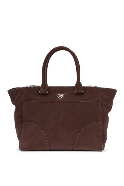 Prada - Dark Brown Suede Double-Zip Medium Tote