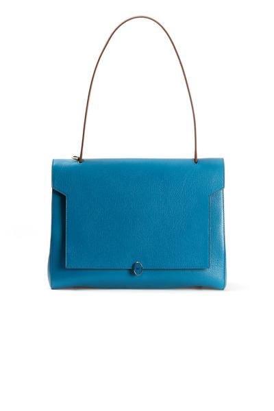 Anya Hindmarch - Bathrus Bali Blue Leather Medium Satchel