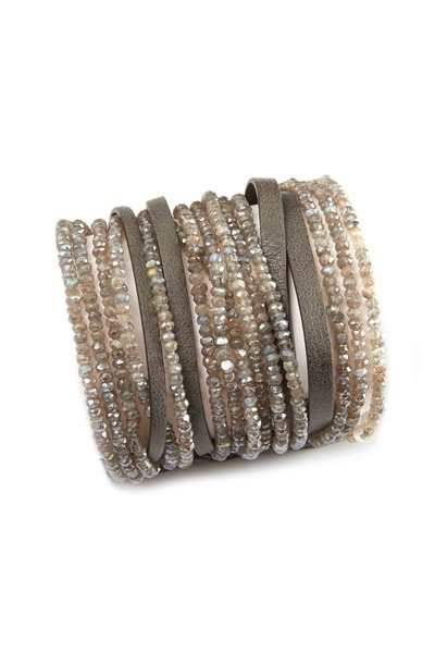 Brunello Cucinelli - Labradorite Pearl Leather Cuffs