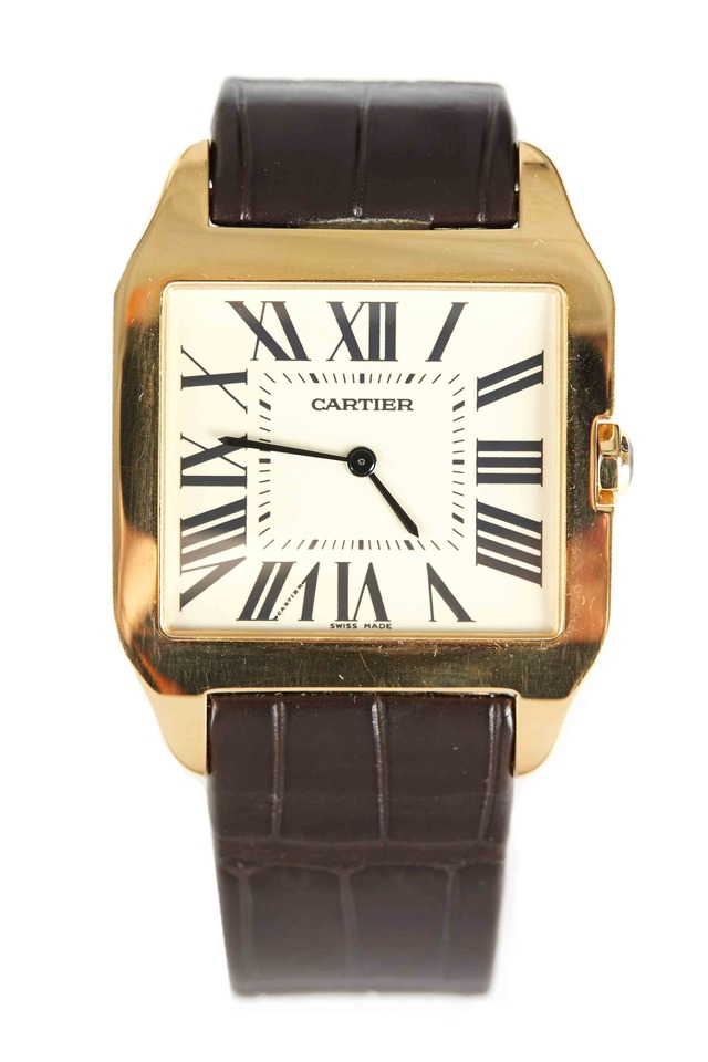 Santos Dumont Yellow Gold Leather Strap Watch