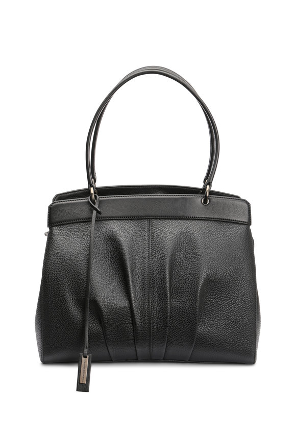 Mauro Governa Ruched Black Pebbled Leather Satchel