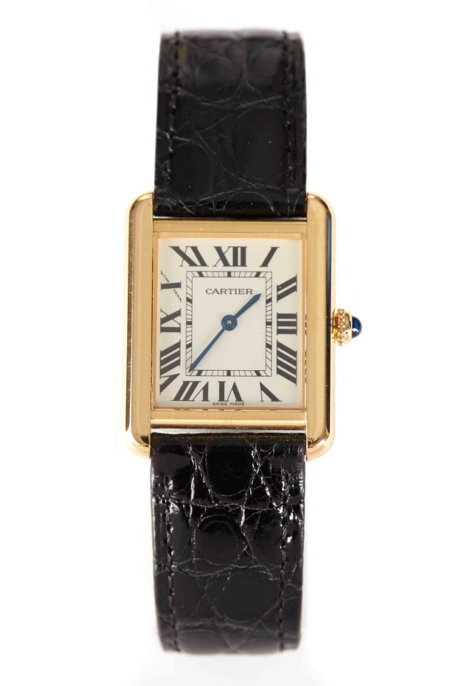 Tank Solo Yellow Gold Leather Strap Watch, Small