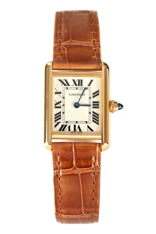 Tank Louis Cartier Gold Leather Strap Watch, Small