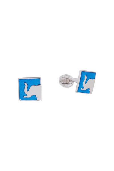 Jan Leslie - Sterling Silver Blue Elephant Cuff Links