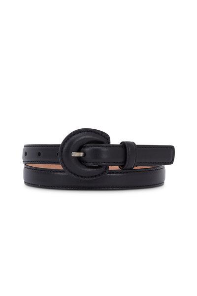 Michael Kors Collection - Black Leather Skinny Belt