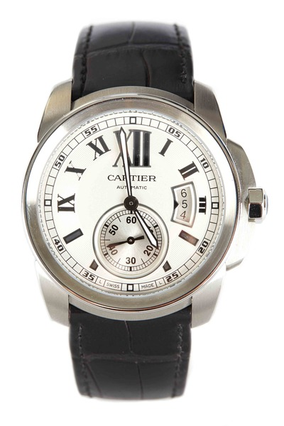 Cartier - Calibre Steel Leather Strap Watch
