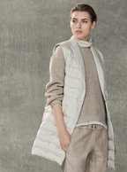 Brunello Cucinelli - Vanilla Stretch Silk Turtleneck Sleeveless Blouse