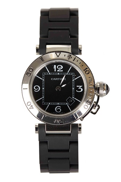 Cartier - Pasha Seatimer Steel Rubber Strap Watch