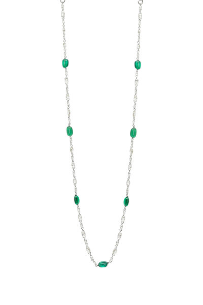 Fred Leighton - Diamond Briolette & Emerald Chain Necklace