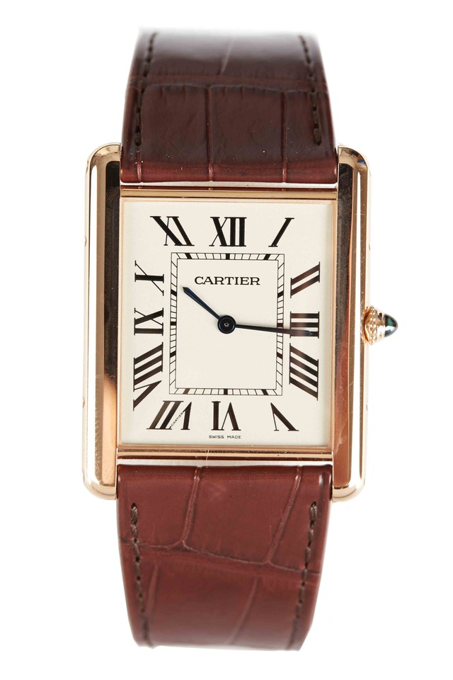Tank Louis Cartier Pink Gold Leather Strap Watch