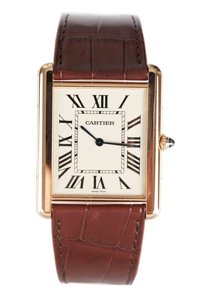 Cartier - Tank Louis Cartier Pink Gold Leather Strap Watch