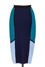 Jonathan Simkhai - Blue Colorblock Knit Hexagon Pencil Skirt