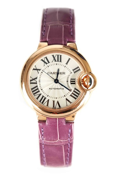 Cartier - Ballon Bleu Pink Gold Leather Strap Watch, 33mm