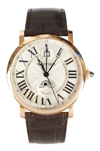 Cartier - Rotonde Pink Gold Leather Strap Watch, 42mm