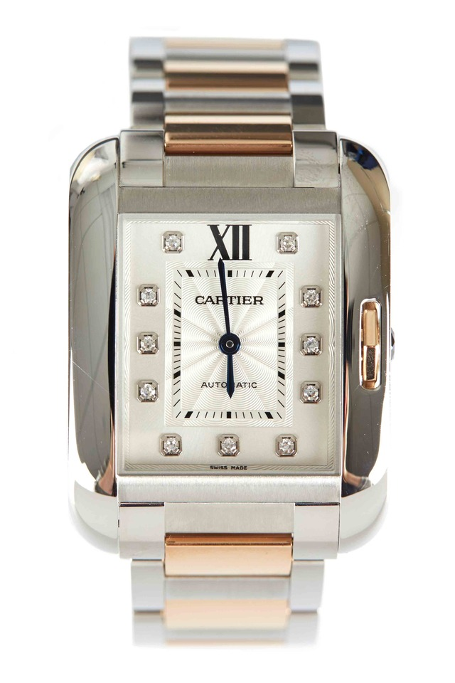Tank Anglaise Pink Gold Diamond Watch, Medium