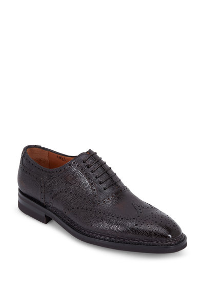 Bontoni - Libertino Cafe Grained Leather Wingtip Oxford