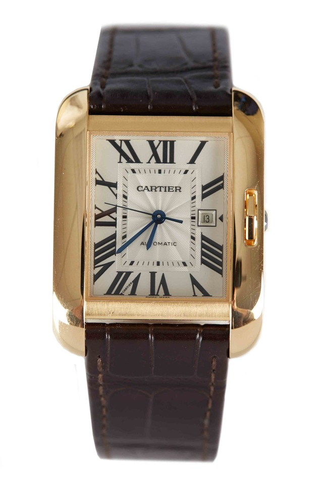 Tank Anglaise Yellow Gold Leather Strap Watch