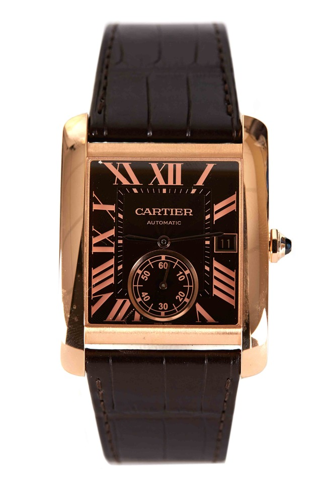Tank MC Gold Leather Strap Automatic Watch