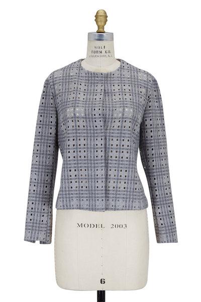 Akris - Gravel Gray Tartan Plaid Cut-Out Jacket