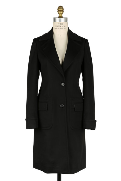 Kiton - Black Cashmere Pleated Coat