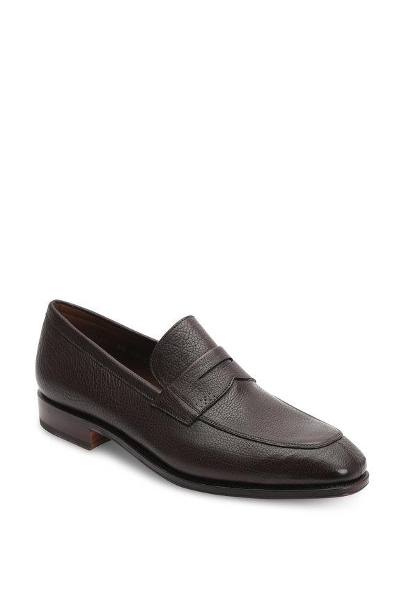 Carmina Simpson Dark Brown Pebbled Leather Penny Loafer