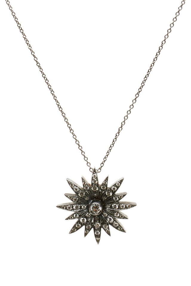 White Gold Starburst Diamond Pendant