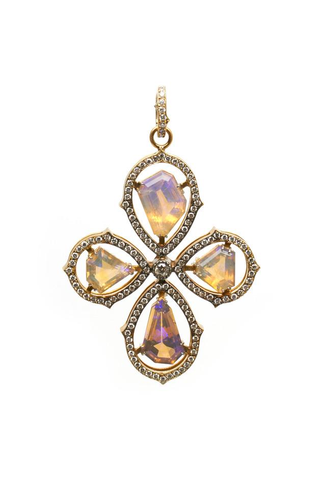 Gold Opal Cross Diamond Pendant