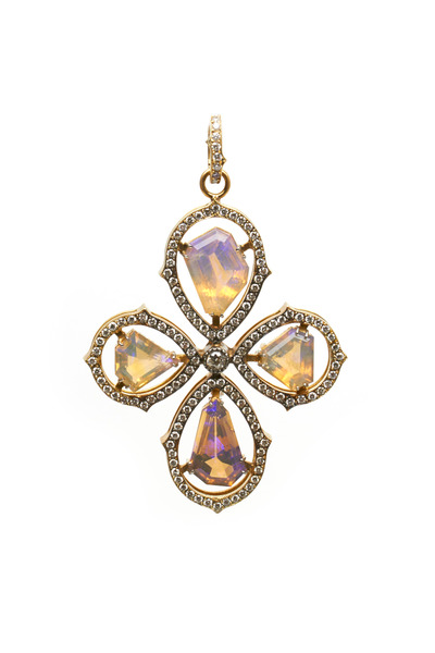 Sylva & Cie - Gold Opal Cross Diamond Pendant