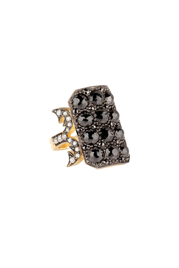 Sylva & Cie 18K Gold Black & White Diamond Ten Table Ring