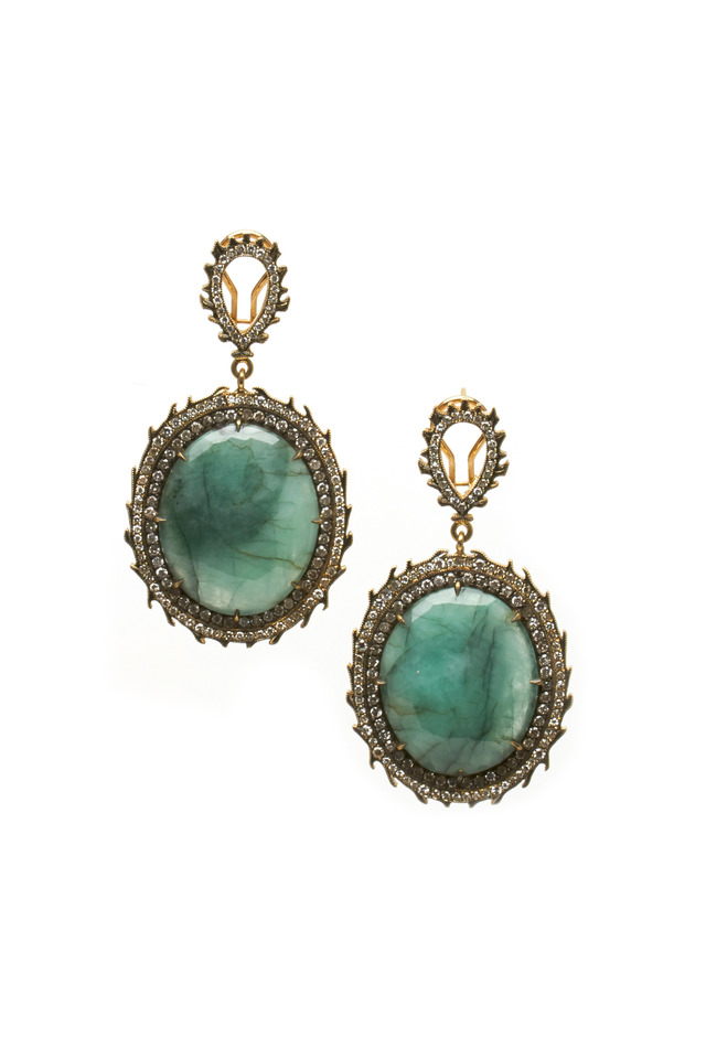 Yellow Gold Rough Diamond & Emerald Earrings