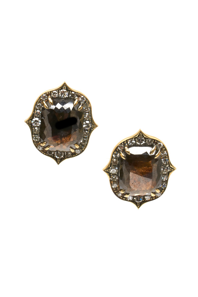 Gold Rough Black & White Diamond Stud Earrings