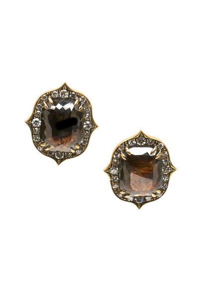 Sylva & Cie - Gold Rough Black & White Diamond Stud Earrings
